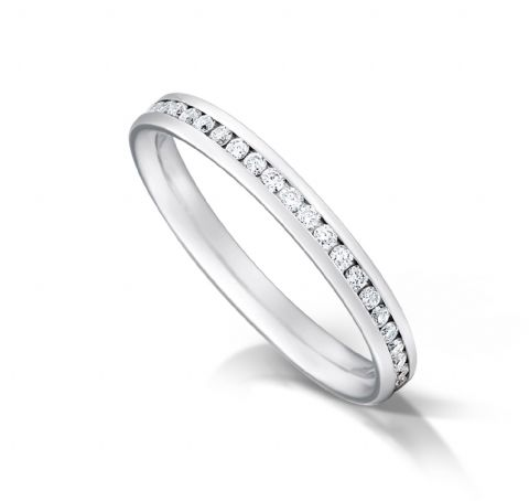 Channel set court eternity/wedding ring, platinum. 2.7mm x 1.7mm. 1/4 coverage